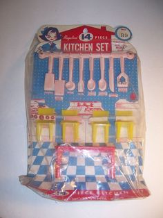 Vintage 14 piece toy kitchen set Regaline 1950s?