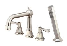 Belle Foret BFRT500SN Satin Nickel Roman Tub Faucet with Hand Shower