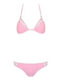 Pink Halter Sheer Panel Triangle Bikini Top And Bottom
