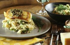 Pan-seared Chilean sea bass is seared on the stove, finished in the oven and draped with a quick wine, butter, lemon, dill & caper sauce. 30 minutes to cook.