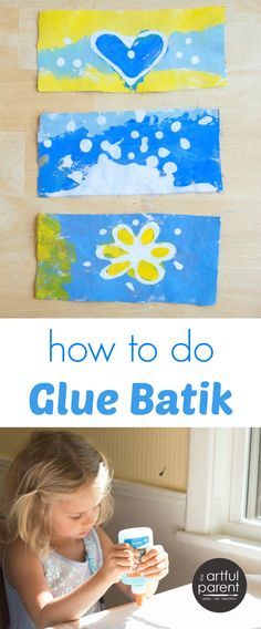 Glue batik is an easy and fun art activity for decorating your own fabric. Here are the step-by-step instructions for how to do glue batik with kids.