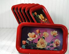 Vintage Red Metal Trays Set of 7  Early Litho by DivineOrders, $37.00