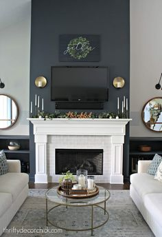 My Favorite Sherwin Williams Paint Colors - Evolution of Style Favorite Paint Colors - Sherwin Williams - Outerspace Fireplace Accent Walls, Grey Fireplace, Accent Walls In Living Room, Home Fireplace, Living Room Colors, Living Room With Fireplace, Living Room Paint, Fireplace Design, Living Room Grey
