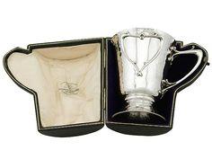 Sterling Silver Christening Mug by Goldsmiths & Silversmiths Co Ltd - Art Nouveau Style - Antique Edwardian (1909)