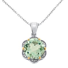 Women's Fashion Jewelry:  Meredith Leigh Silver/ Gold Green Amethyst/ Diamond Necklace