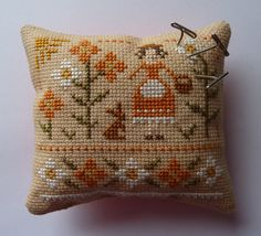 Completed Primitive Cross Stitch Pin Cushion - Primrose Maiden - Floral