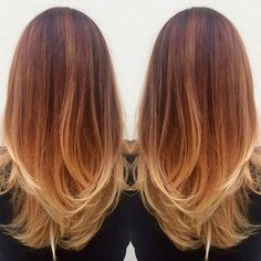 Beautiful Light Copper Ombre with long straight hair