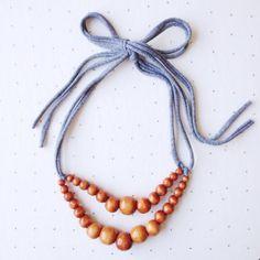 Color Pop Necklace in Hazelnut & Grey . Nontoxic by TheJonesMarket