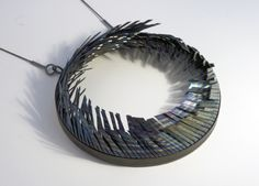 Heather Woof neckpiece   Titanium, copper, silver, stainless steel cable