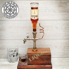 Liquor dispenser|Tabletop drinks dispenser is made in fashionable steampunk style loft, industrial. Great gift for birthday and anniversary.