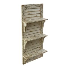 """Distressed white shutter with three shelves. 39"""" X 17"""" X 5"""""""