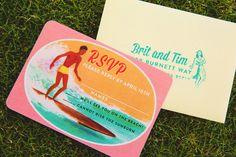 kitschy vintage hawaii wedding invitation the Kauai Wedding, Destination Wedding, Tiki Man, Cute Signs, Vintage Hawaii, Beach Wedding Invitations, Vintage Artwork, Wedding Locations, Wedding Designs
