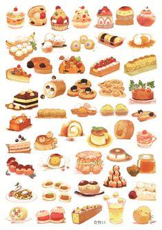 13 Cute Food Drawings, Cute Kawaii Drawings, Kawaii Art, Dessert Illustration, Cute Illustration, Cute Food Art, Cute Art, Food Stickers, Cute Stickers