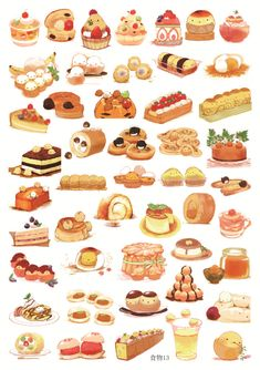 13 Arte Do Kawaii, Kawaii Art, Cute Food Drawings, Kawaii Drawings, Cute Food Art, Cute Art, Food Stickers, Cute Stickers, Illustration Dessert