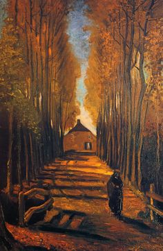 """Avenue of Poplars in Autumn - Vincent Van Gogh - Van Gogh described the painting to his brother Theo, """"The last thing I made is a rather large study of an avenue of poplars, with yellow autumn leaves, the sun casting, here and there, sparkling spots on the fallen leaves on the ground, alternating with the long shadows of the stems. at the end of the road is a small cottage, and over it all the blue sky through the autumn leaves."""""""