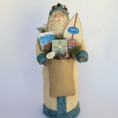 Folk Art Santa Claus Figurine Paper Mache Mixed Media Sculpture Avalon New Jersey Cream Beach Handmade Santa Figure Joan Matthews 201631 by SantasfrommyHeart on Etsy