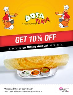 Treaty with the taste of South's best cuisines in your own city.   Get this delicious delight #coupon of @Dosa Plaza for #FREE on every #Movie ticket bookings of same value from Fastticket #Mobile App.   Grab it now!