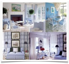 blue and white living spaces