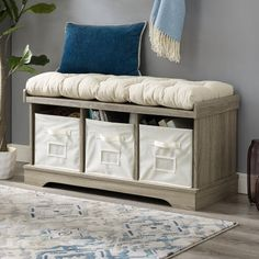 Manor Park Modern Farmhouse Entryway Storage Bench - Grey Wash Image 1 of 4 Decor, Furniture, Living Room Furniture, Farmhouse Entryway, Transitional Living Rooms, Upholstered Seating, Home Decor, Entryway Storage, Storage Bench With Cushion