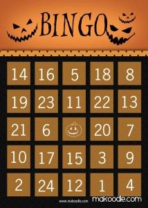 Pumpkin Halloween Bingo Card