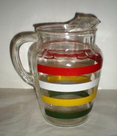 Items similar to Sale! Vintage Striped Glass Pitcher - on Etsy Vintage Year, Vintage Theme, Retro Vintage, Vintage Stuff, Vintage Food, Vintage Crafts, Unique Vintage, Vintage Dishes, Vintage Glassware