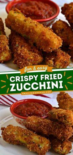 Fried Zucchini Sticks, Fried Zucchini Recipes, Zucchini Side Dishes, Zuchinni Sticks, Veg Dishes, Zucchini Fries, Veggie Recipes, Fried Zuchinni, Healthy Recipes