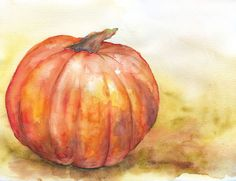 Fall Pumpkin Watercolor Painting Giclee Print 10 x 8 Fine Art Watercolor 11 x Tree Watercolor Painting, Watercolor Fruit, Watercolor And Ink, Samhain, Pumpkin Art, Pumpkin Painting, Pumpkin Colors, Autumn Painting, Anime Chibi