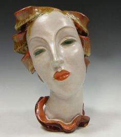 Beautiful Keramos Austrian 1930s Art Deco Wall Mask Head