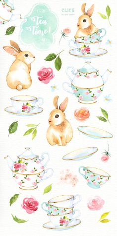The set of high quality hand painted watercolor bunnies and tea party element images. Included teacup, teapot and pre-made bouquets. Perfect for wedding invitations, greeting cards, quotes, posters, logo, blogs and DIY. What do you get: 2 x Bunnies in PNG with transparent background,