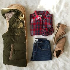 || Chilly Days Leather Detail Fur Vest || + || Plaid With My Heart Flannel || + || Lean With It Distressed Fray Hem Skinnies ||