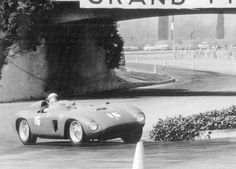 "Glyer in Ferrari 500TR #0650 MDTR on his qualifying run at the ""L.A. Examiner Grand Prix"" held on March 8, 1959 at the L.A. County Fairgrounds circuit in Pomona."