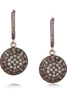 Ileana Makri rose gold earrings with champagne diamonds #jewelry #rosegold