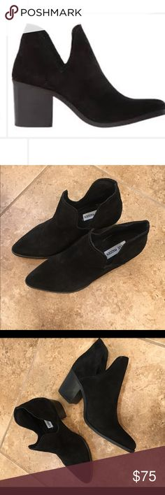 "Steve Madden Autstin Black suede, fits size 8.5 (actual size 9.5) runs small, side cutouts, 1.5"" heel, slip-on style, worn twice, model in black leather, I'm selling suede, no trades Steve Madden Shoes Ankle Boots & Booties"