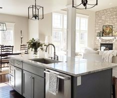 gray house white cottage kitchen island gray: The island color is Sherwin Williams Cityscape Kitchen Island Makeover, Grey Kitchen Island, Country Kitchen, New Kitchen, Kitchen Decor, Kitchen Ideas, Gray Island, White Cottage Kitchens, Grey Kitchens