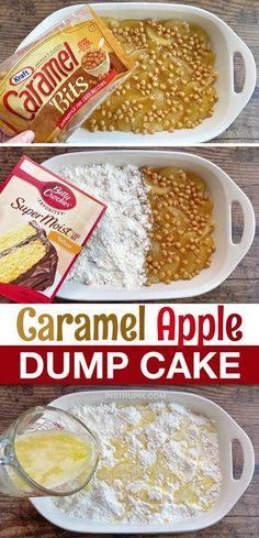 Caramel Apple Dump Cake, Apple Dump Cakes, Dump Cake Recipes, Dessert Cake Recipes, Caramel Apples, Easy Desserts, Delicious Desserts, Yummy Food, Caramel Bits