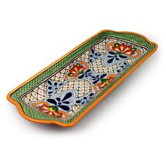 """Talavera pottery green scale serving tray. This colorful and functional Mexican serving tray is a great way to add a touch of Mexico to your table. 17"""" w x 6.75"""" w x 1.5"""" h"""
