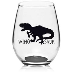 WinoSaur Stemless Wine Glass  Dinosaur Wine by DixieKRoseBoutique