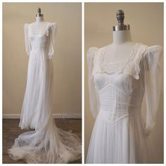 Jahrgang Bridal 1940 Seide Mesh / Tüll Brautkleid mit Spitze