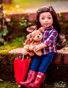 """Stylish looks for the fashionable doll! Create this look for your American Girl doll with the Liberty Jane Button Up Shirt 18"""" Doll Clothes Pattern available at Pixie Faire."""