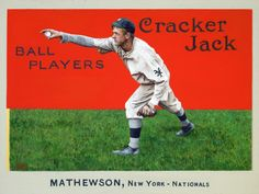 Christy Mathewson, Hall of Fame pitcher, New York Giants. 1914 Cracker Jack. Worth in excess of 100,000 in top condition. Beautiful colorful card.