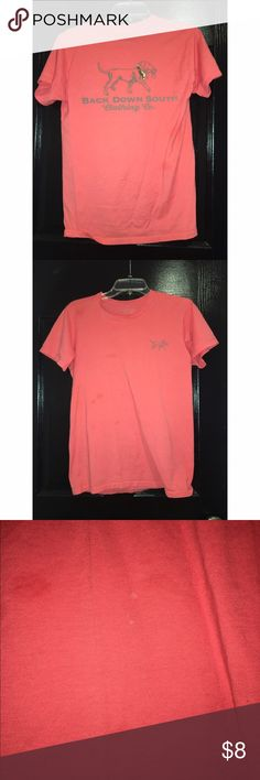 Back down south t-shirt Actually is men size small but can fit a woman size small-medium. Back down south coral t-shirt. Has one small bleach stain can barely tell as shown in pic (the flash makes shirt look like he wet spots but does not) Tops Tees - Short Sleeve