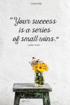 """Your success is a series of small wins."""