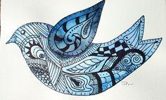 Zentangle Art | card, Zentangle card, watercolor, art card, blue bird, zentangle ...