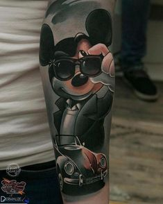 Slick Mickey by at Viala Tattoo & Piercing in Darmstadt Germany. Tatoo Mickey, Mickey Mouse Tattoos, Mickey Mouse Art, Disney Tattoos, Mother Son Tattoos, Baby Name Tattoos, Tattoos With Kids Names, Symbol For Family Tattoo, Tattoo For Son