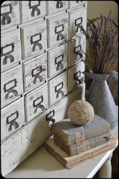 white painted card catalog