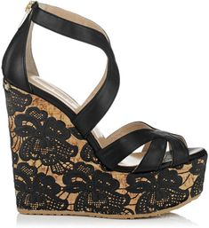 Jimmy Choo Black Parrow Lace Wedge Sandal €459 Spring Summer 2014 #Choos #Wedges #Shoes
