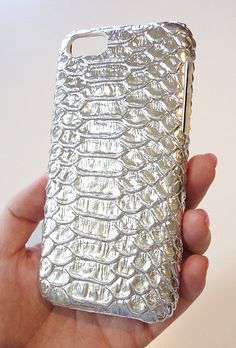 Silver Metallic Crocodile Leather case cover for Iphone 5c  Apple by Yunikuna, $35.00