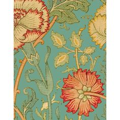 William Morris red and green poppy fringed on turquoise