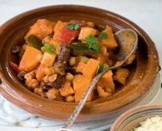 Tajine met zoete aardappel & kikkererwten courgette