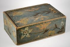 Colonial era Folk art hand painted, handmade wood box